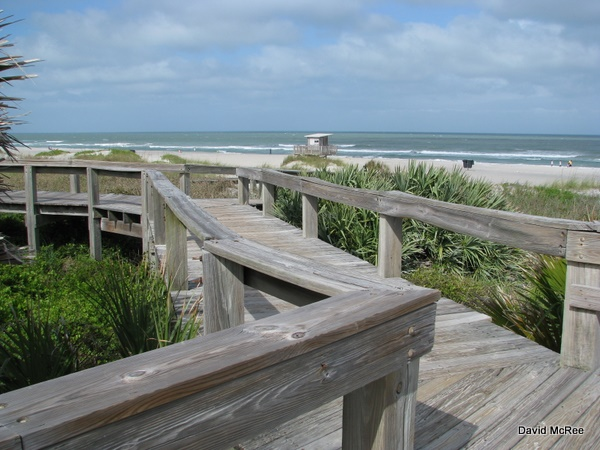 Boardwalk at Lori Wilson Park beach, Cocoa Beach, FL