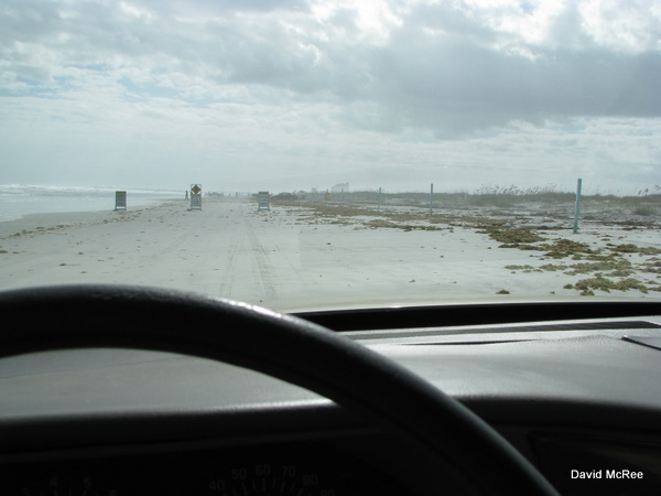 driving on the beach at Ponce Lighthouse Park