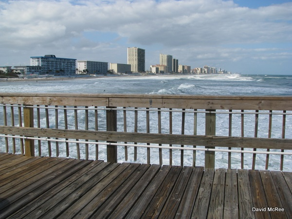 View from Sunglow Pier, looking north. Daytona Beach.