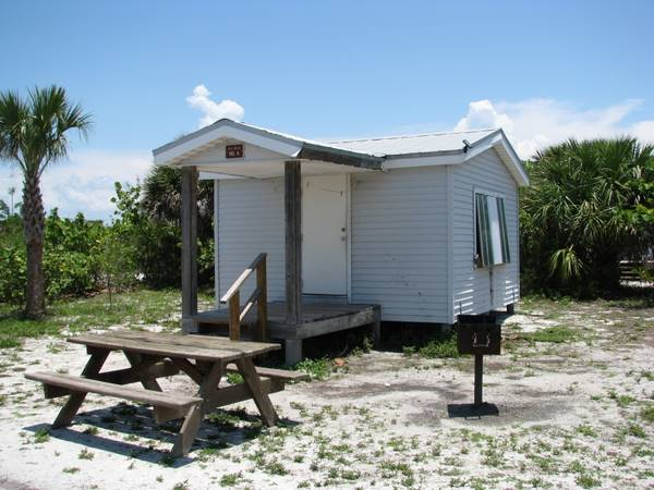 Rustic cabins available to rent on Cayo Costa Island State Park.