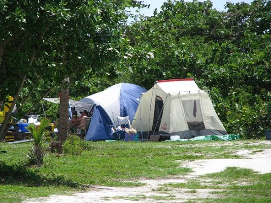 Tent camping on Cayo Costa Island State Park, Florida.