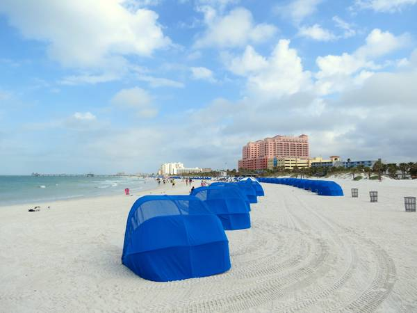 Clearwater Beach, Florida with beach shelters