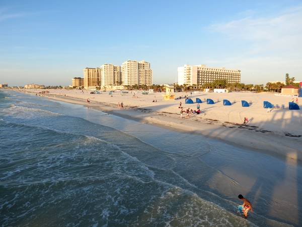 Clearwater Beach view of Sand Pearl and Hilton Hotels