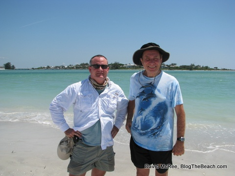 David McRee and Dr. Stephen Leatherman on Little Gasparilla Island.