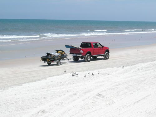 driving on Daytona Beach at low tide