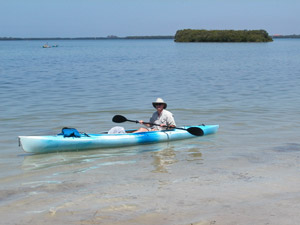 Florida beaches author David McRee kayaking at Fort Desoto Park.
