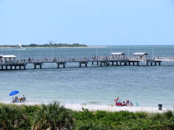 Gulf Pier at Fort Desoto Park viewed from atop the fort.