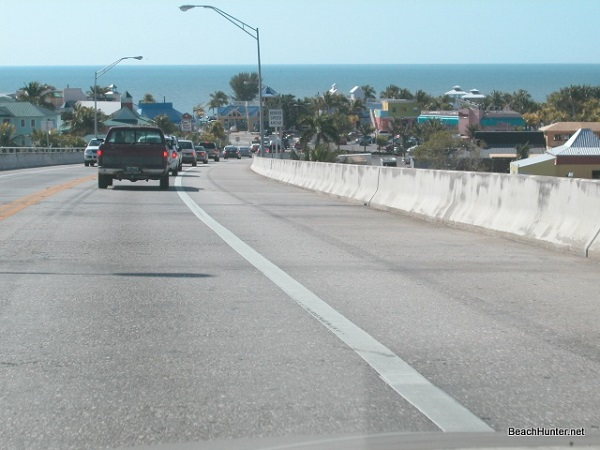 Driving down off the bridge onto Estero Island, Fort Myers Beach, Florida