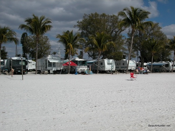 Camping on the beach at the Red Coconut RV park on Fort Myers Beach, FL