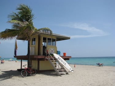 hollywood beach, fl scene with lifeguard tower