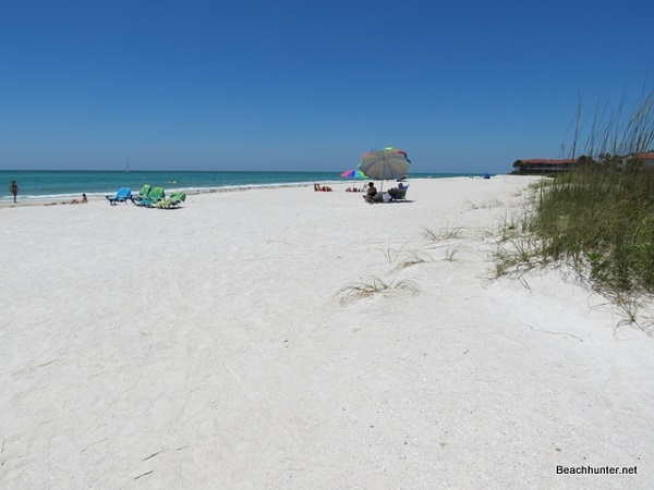 Pure white quartz sand at Whitney Beach, Longboat Key, Florida.