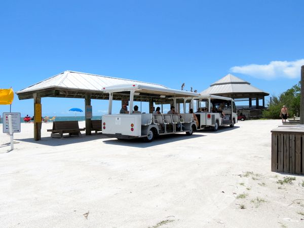 Lover's Key tram station, beach-side.