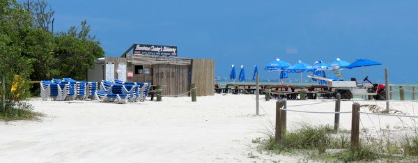 Hurricane Charley's Hideaway. Gifts, food, beverages, rentals. Lover's Key beach.