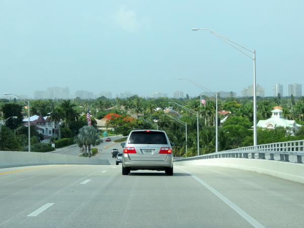 Driving on the Jolley Bridge onto Marco Island, Florida.