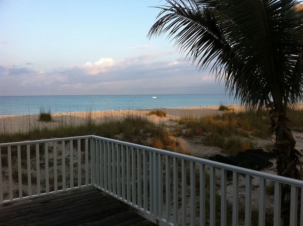 Sunrise on Don Pedro Island from beachhouse deck.