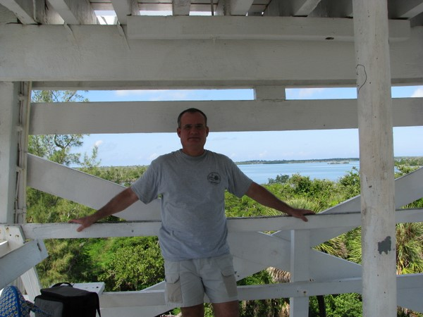 BeachHunter on the observation deck of the Cabbage Key water tower.