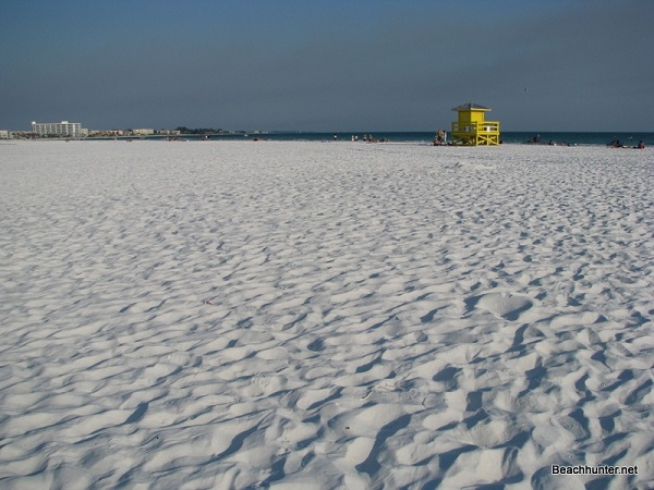 Pure white quartz sand at Siesta Key Public Beach, Sarasota, FL.